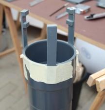 Unterseite Luftheber: hier wird die Sprudelplatte eingesetzt