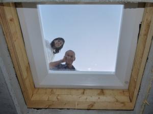 Mein Vater und ich beim Fenstereinblicktest