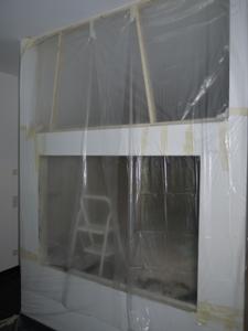 Staubschutzwand im Arbeitszimmer, Ein-/Ausgang