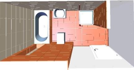 Draufsicht - links Wanne, unten WC, ggü. Waschtisch und rechts Dusche